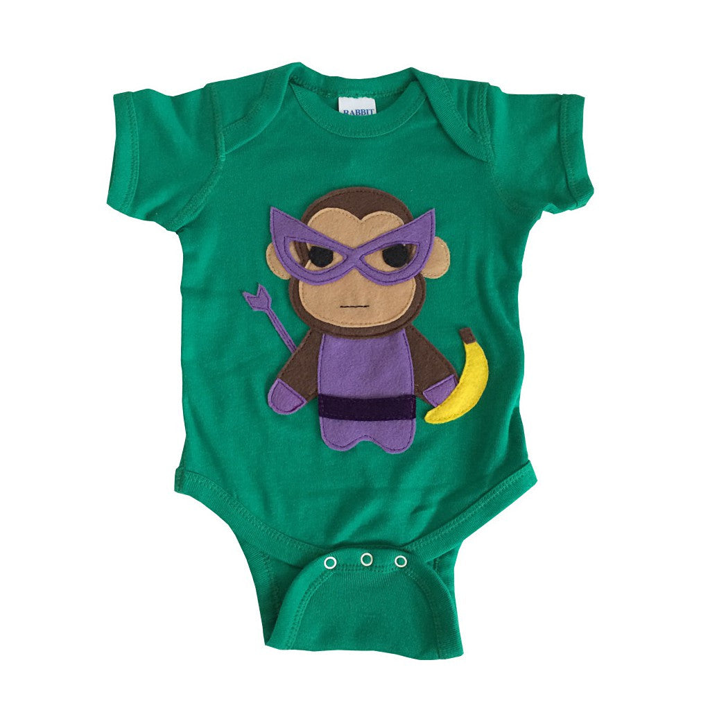 Super Hero Onesie -Team Super Animals - Monkey Banana Green Infant Bodysuit - Baby Clothes Gift