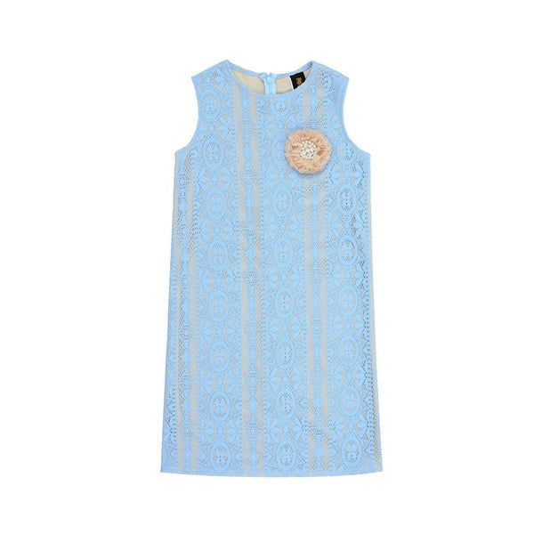 Baby Blue Crochet Lace Sleeveless Day Summer Shift Mommy and Me Dress