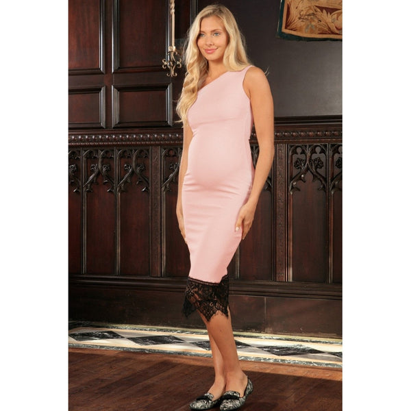 Pink Blush Stretchy One-Shoulder Bodycon Midi Dress - Women Maternity