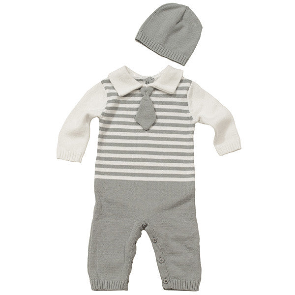 Boy's Knit Romper with Hat