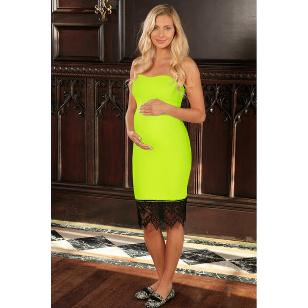 Neon Yellow Stretchy Sweetheart Chic Strapless Dress - Women Maternity