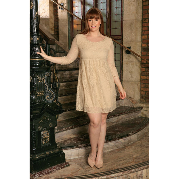 Beige Stretchy Lace Empire Waist Trendy Daytime Mommy and Me Dress Plus Size
