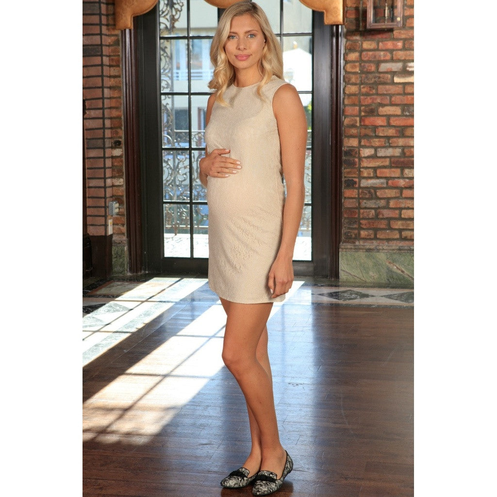 Beige Stretchy Lace Sleeveless Party Shift Dress - Women Maternity