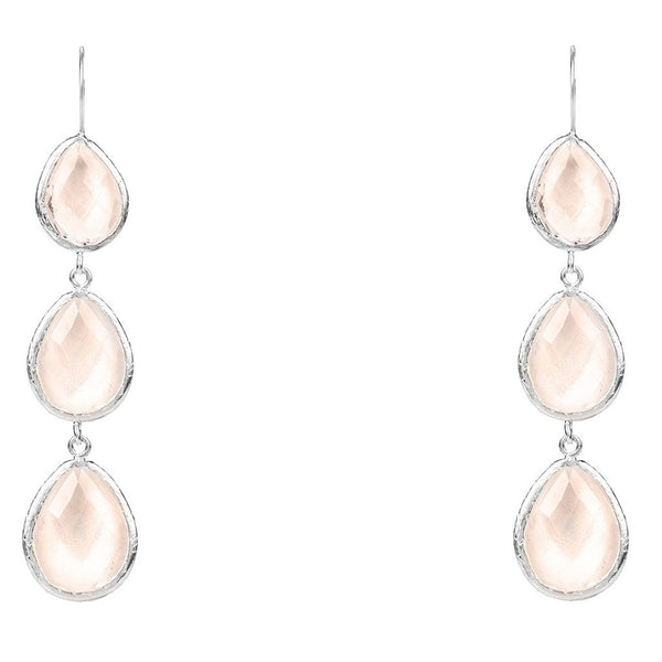 Silver Triple Drop Earring Rose Quartz Hydro