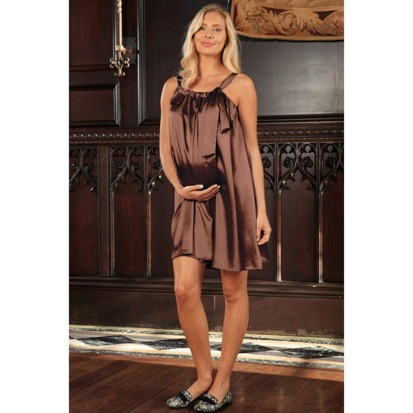 Chocolate Brown Charmeuse Halter Swing Party Dress - Women Maternity