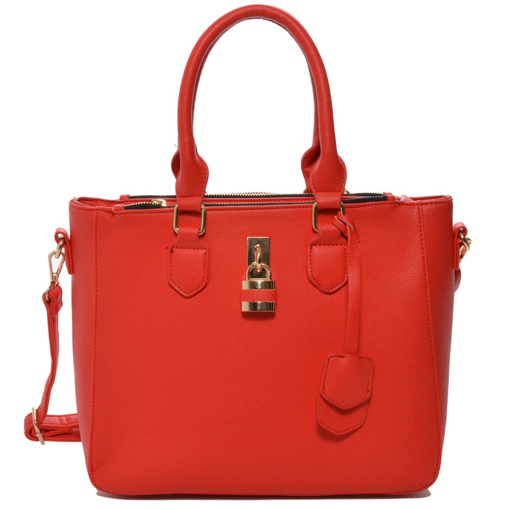 Red Vegan Leather Shoulder Handbag