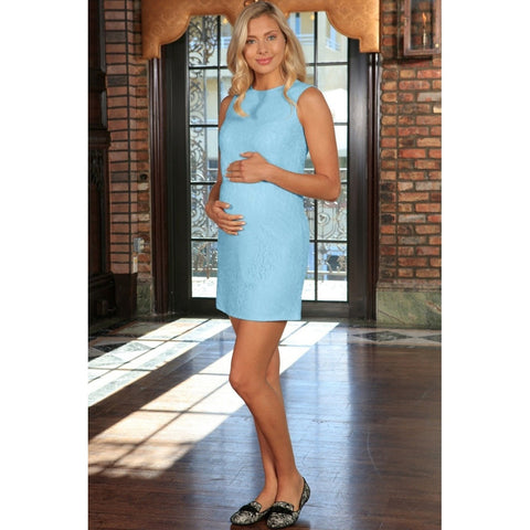 Baby Blue Stretchy Lace Sleeveless Cute Shift Dress - Women Maternity