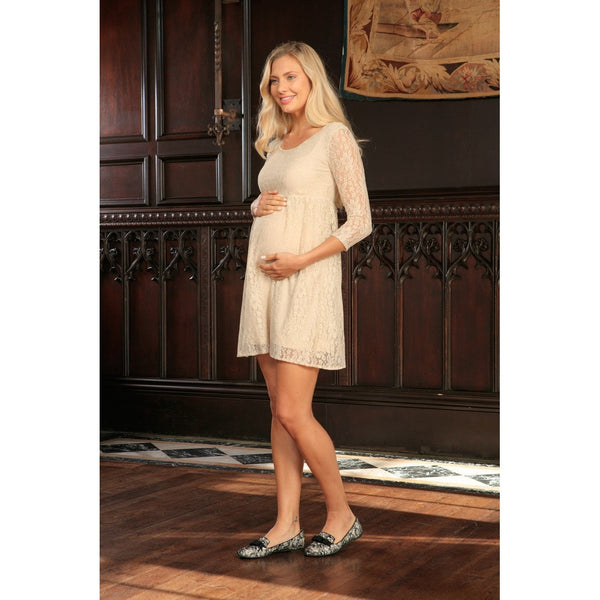 Beige Stretchy Lace Empire Half Sleeve Trendy Dress - Women Maternity