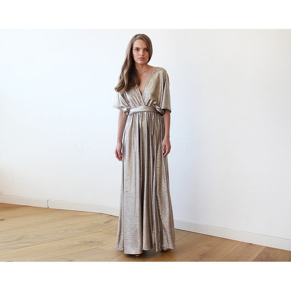 Metallic Gold Bat-Sleeve Maxi Dress 1105