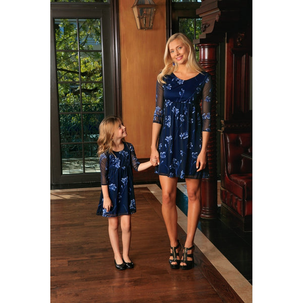 Navy Blue Floral Lace Empire Waist 3/4 Sleeve Mother Daughter Dress