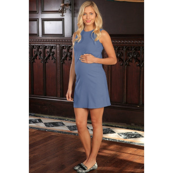 Blue Gray Stretchy Sleeveless Casual Day Shift Dress - Women Maternity
