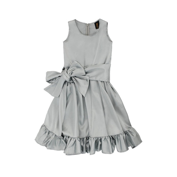 Silver Grey Charmeuse Fit & Flare Ruffle-Hem Midi Mommy and Me Dresses