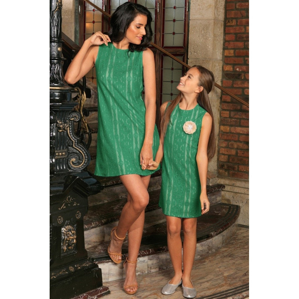Turquoise Green Crochet Lace Sleeveless Summer Shift Mommy & Me Dress