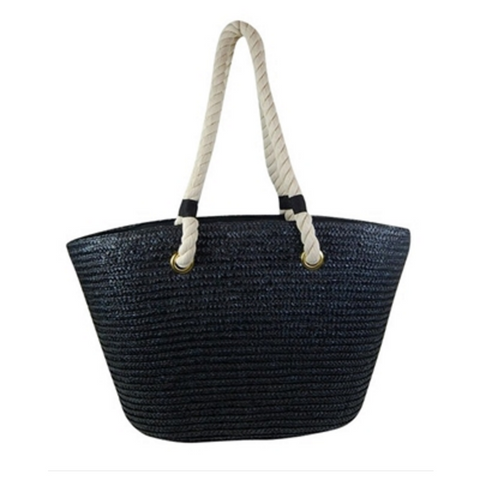 Black Vegan Leather Beach Bag