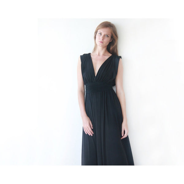 Black sleeveless maxi dress 1003