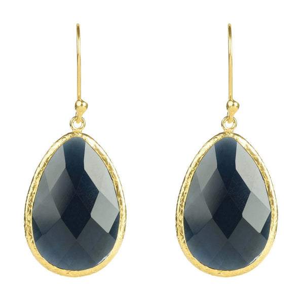 Gold Single Drop Earring Sapphire Hydro