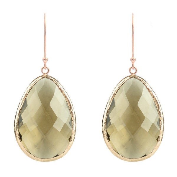 Rosegold Single Drop Earring Smokey Quartz