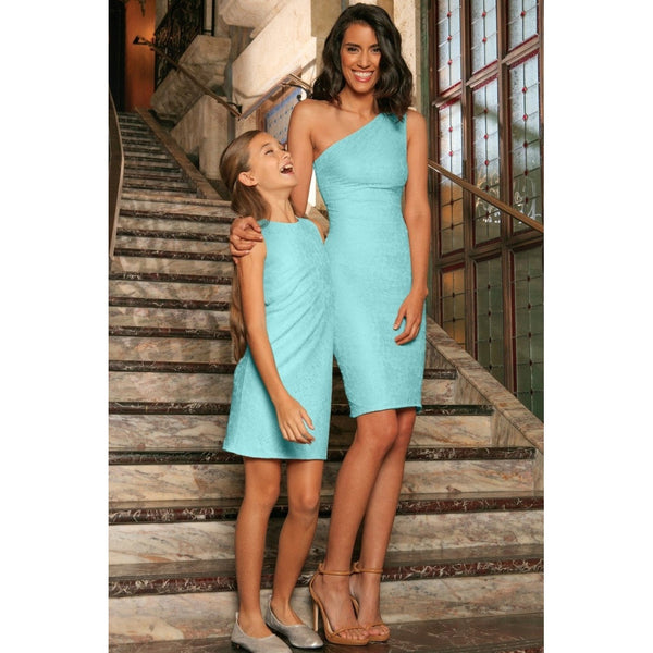 Mint Blue Stretchy Lace Sleeveless Fancy Party Mother Daughter Dress