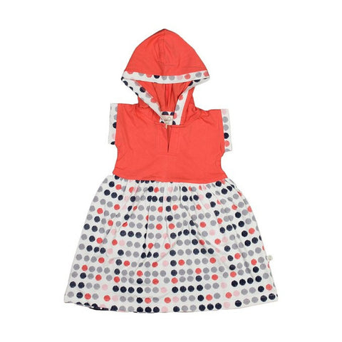 Organic Burst of Dots Gathered Hoodie Dress