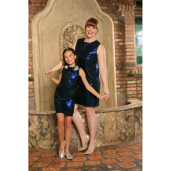 Navy Blue Stretchy Metallic Sleeveless Party Shift Mommy and Me Dress Plus Size