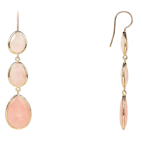 Rosegold Triple Drop Earring Rose Quartz