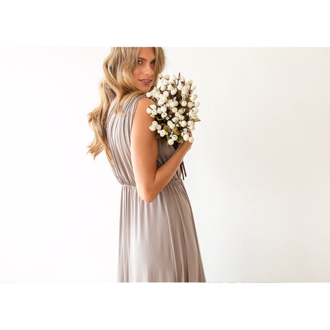 Taupe sleeveless maxi dress 1003