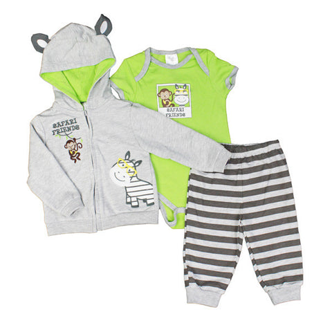3 Piece French Terry Set - Safari Friends