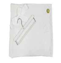 30'' x 36'' White Knit Blanket & Wood Hanger
