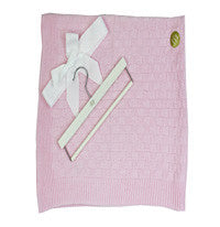 30'' x 36'' Pink Knit Blanket & Wood Hanger