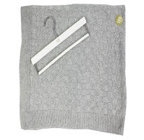 30'' x 36'' Dark Gray Knit Blanket & Wood Hanger