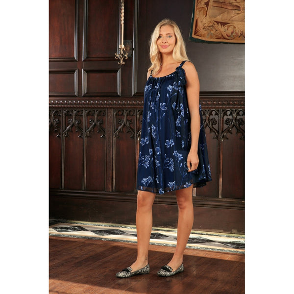 Navy Blue Floral Halter Swing Evening Cocktail Dress - Women Maternity