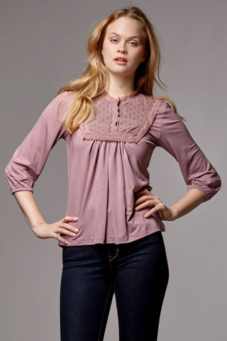 ORGANIC NURSING & MATERNITY TOP PEASANT BLOUSE WITH LACE CHARLIE, ROSE