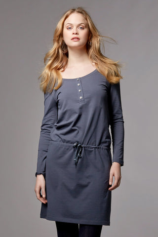 ORGANIC NURSING & MATERNITY DRESS LONG SLEEVE HILDA, DARK GREY