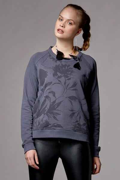 ORGANIC NURSING & MATERNITY TOP SWEATSHIRT PAULINE, DARK GREY