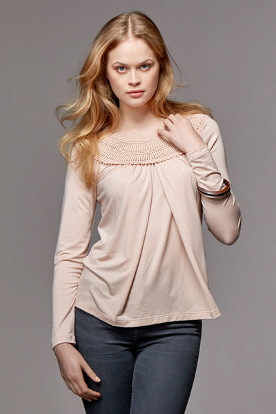 ORGANIC NURSING & MATERNITY TOP WITH LACE CAROLINA, PALE PINK