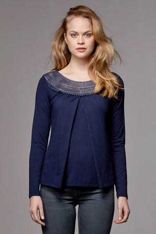 ORGANIC NURSING & MATERNITY TOP WITH LACE CAROLINA, DARK BLUE