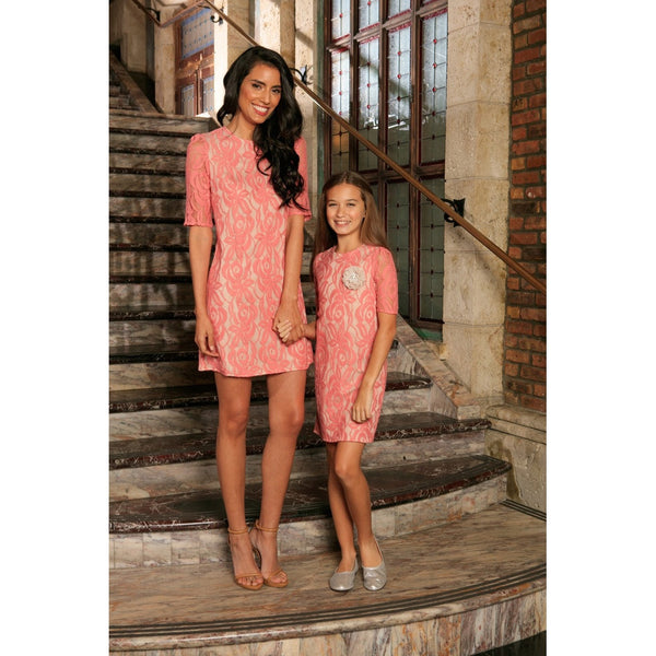Dusty Pink Lace 3/4 Sleeve Cocktail Party Shift Mother Daughter Dress