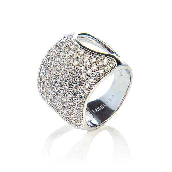 Silver Micro pave Cushion Ring - White Zircon