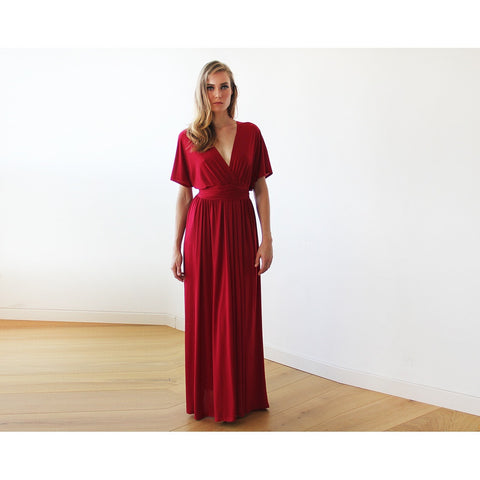 Bordeaux batwing sleeves maxi Bridesmaids dress