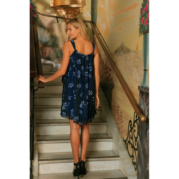 Navy Blue Floral Lace Halter Swing Trendy Party Mommy and Me Dress