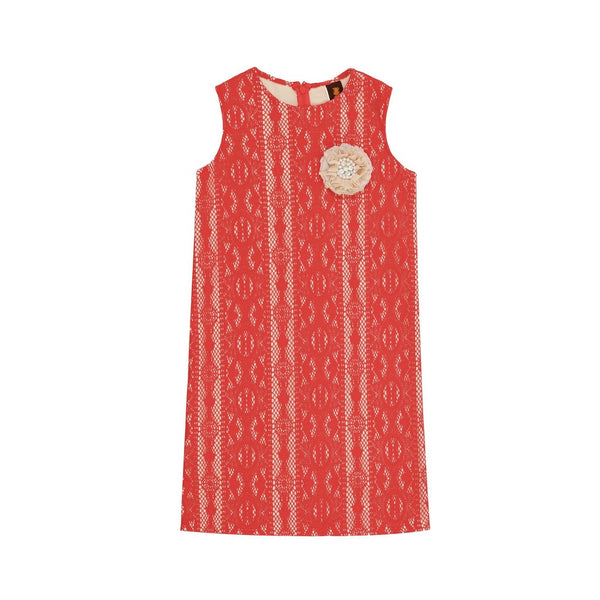 Coral Red Crochet Lace Holiday Beautiful Mother Daughter Shift Dress Plus Size