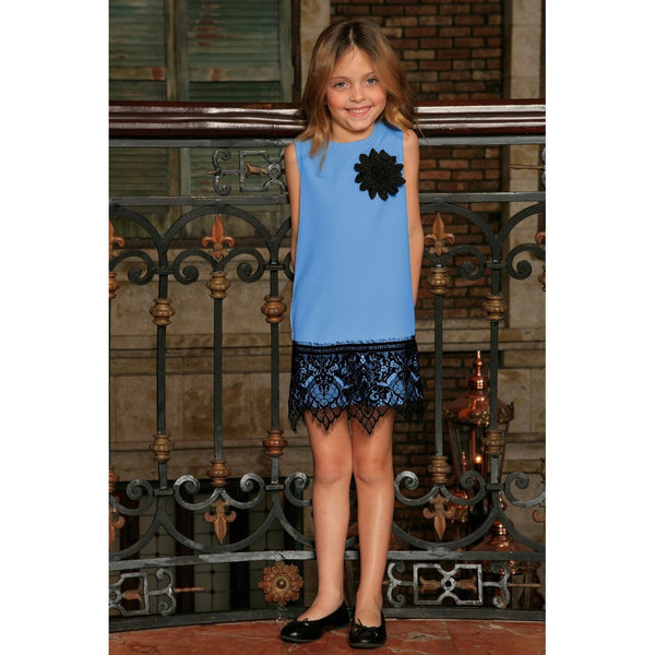 Blue Stretchy Sleeveless Mother Daughter Party Dress