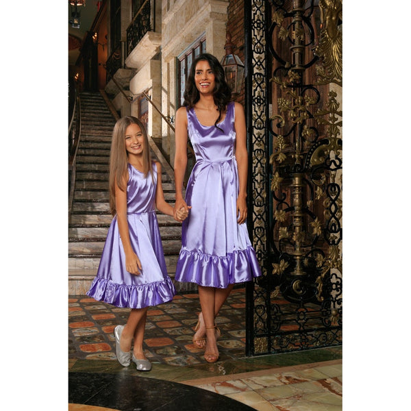Lavender Fit & Flare Ruffle-Hem Cocktail Party Midi Mommy and Me Dress