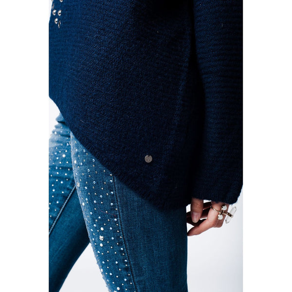 Navy knitted jersey with with star stud