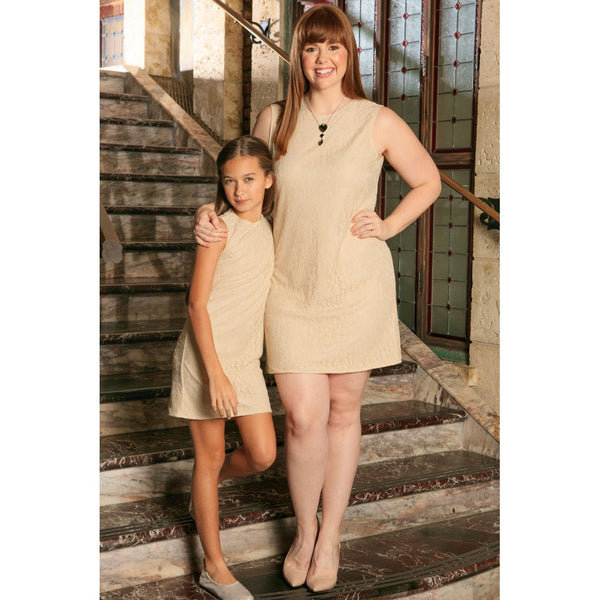 Beige Stretchy Lace Sleeveless Chic Day Shift Mommy and Me Dresses Plus Size