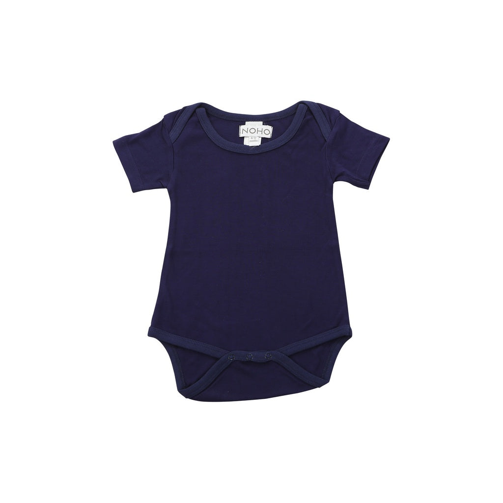 short sleeve onesie in navy blue