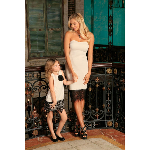 Ivory Beige Stretchy Sleeveless Mother Daughter Dress