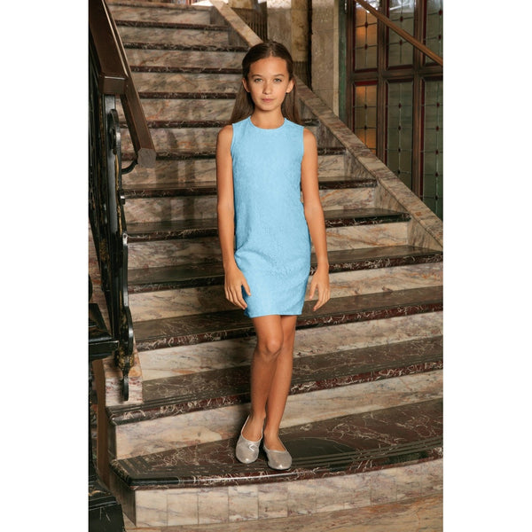 Baby Blue Stretchy Lace Sleeveless Fancy Party Mother Daughter Dress