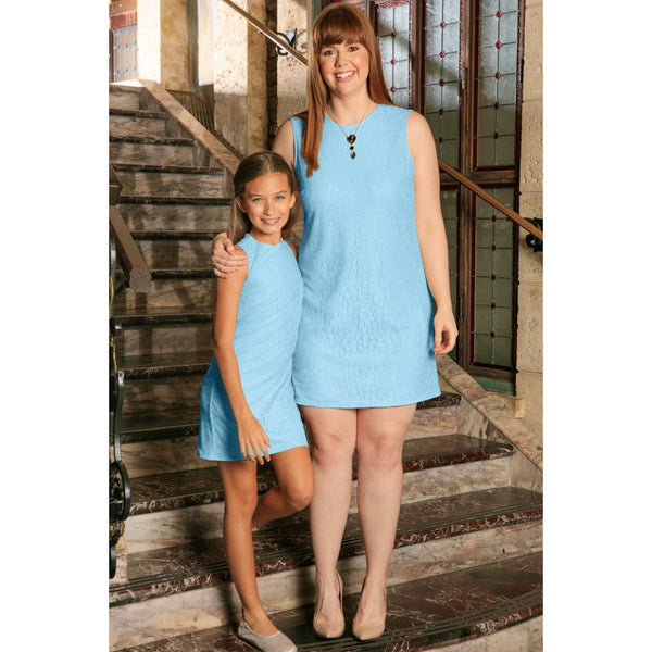 Baby Blue Stretchy Lace Sleeveless Summer Mommy & Me Dress Plus Size