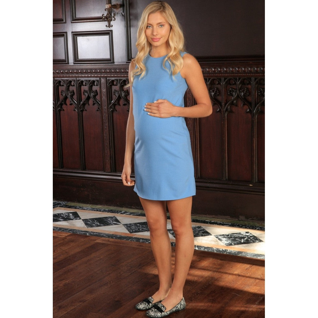 Blue Stretchy Sleeveless Cute Summer Day Shift Dress - Women Maternity